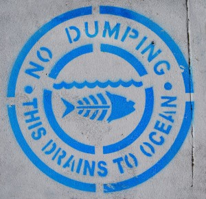 No dumping - drains to ocean